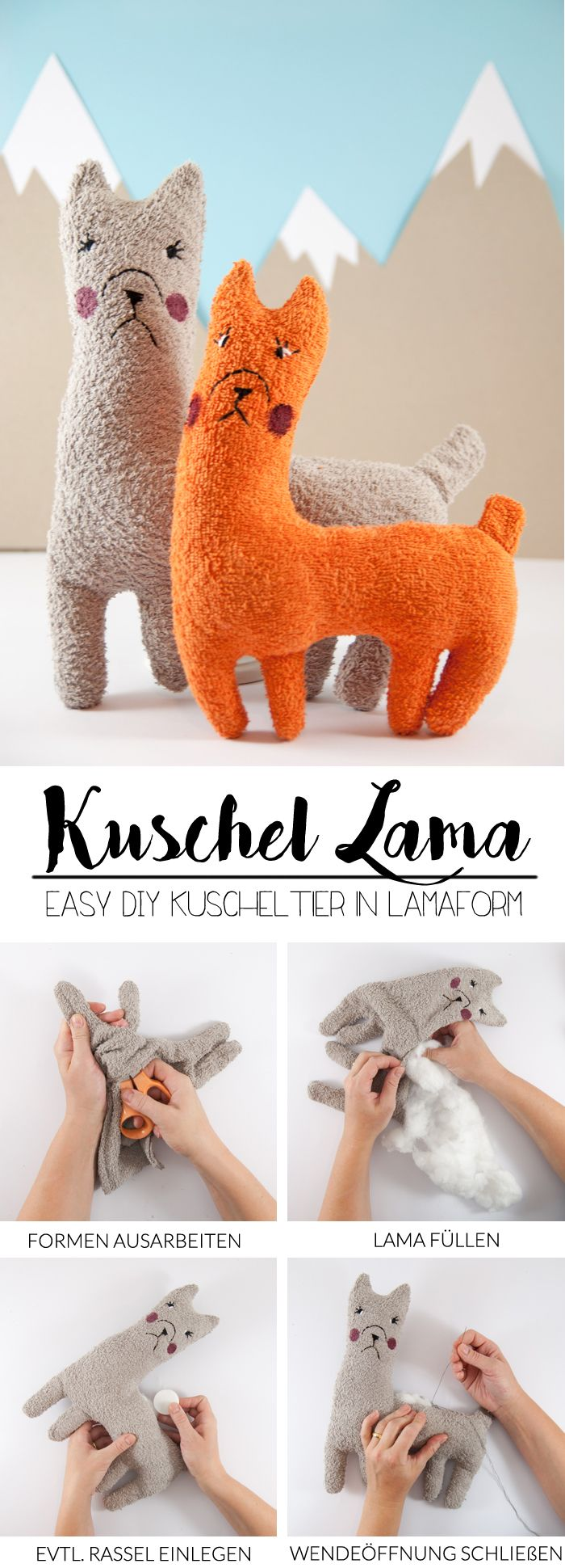 DIY Lama Stofftier - mit kostenlosem Schnittmuster | Frottee ...