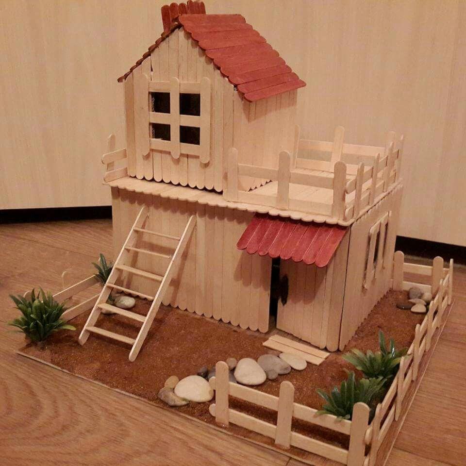 Casita con palos de helados casas de madera pinterest - Casas en miniatura de madera ...
