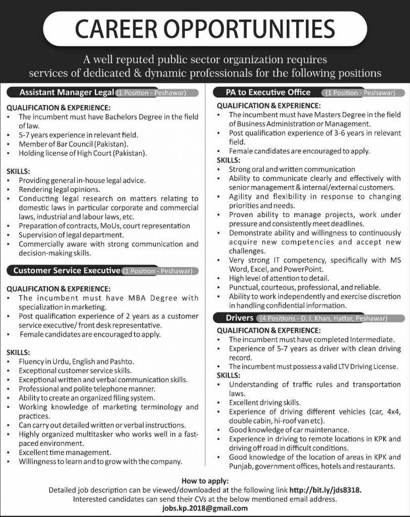 public sector organization peshawar jobs 2018 latest vacancies