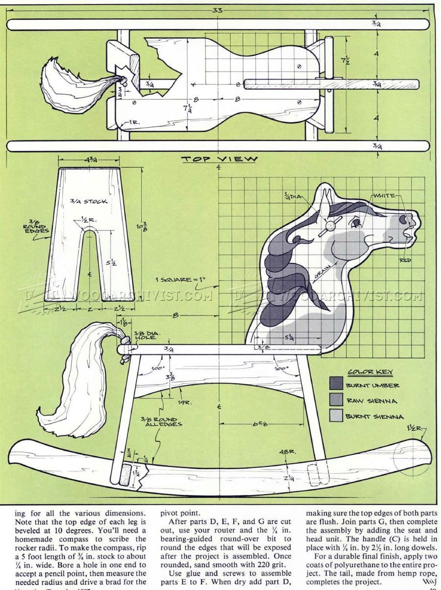 2687 wooden rocking horse plans - wooden toy plans | rocking