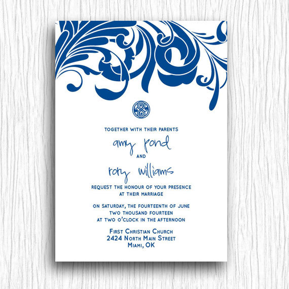 Printable Wedding Invitation - Blue and White Doctor Who | Wedding ...