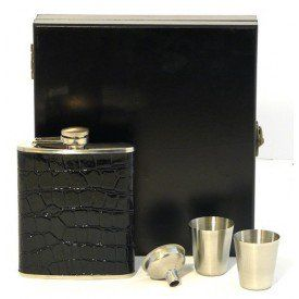 6oz Boxed Black Snake Effect Leather Hip Flask Gift Set £24.72  #buyahipflask.com