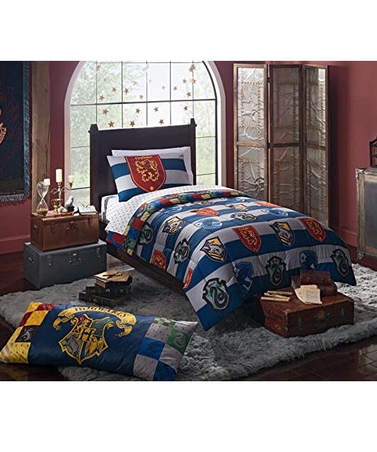 4 Piece Kids Blue White Multi Harry Potter Rugby Pride Comforter With Sheets Twin Set Magical Hogwarts H Harry Potter Bedroom Decor Bed Linens Luxury Twin Bed