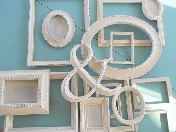 Ampersand Wall Decor distressed creamy white gallery frame set~ farmhouse wall decor