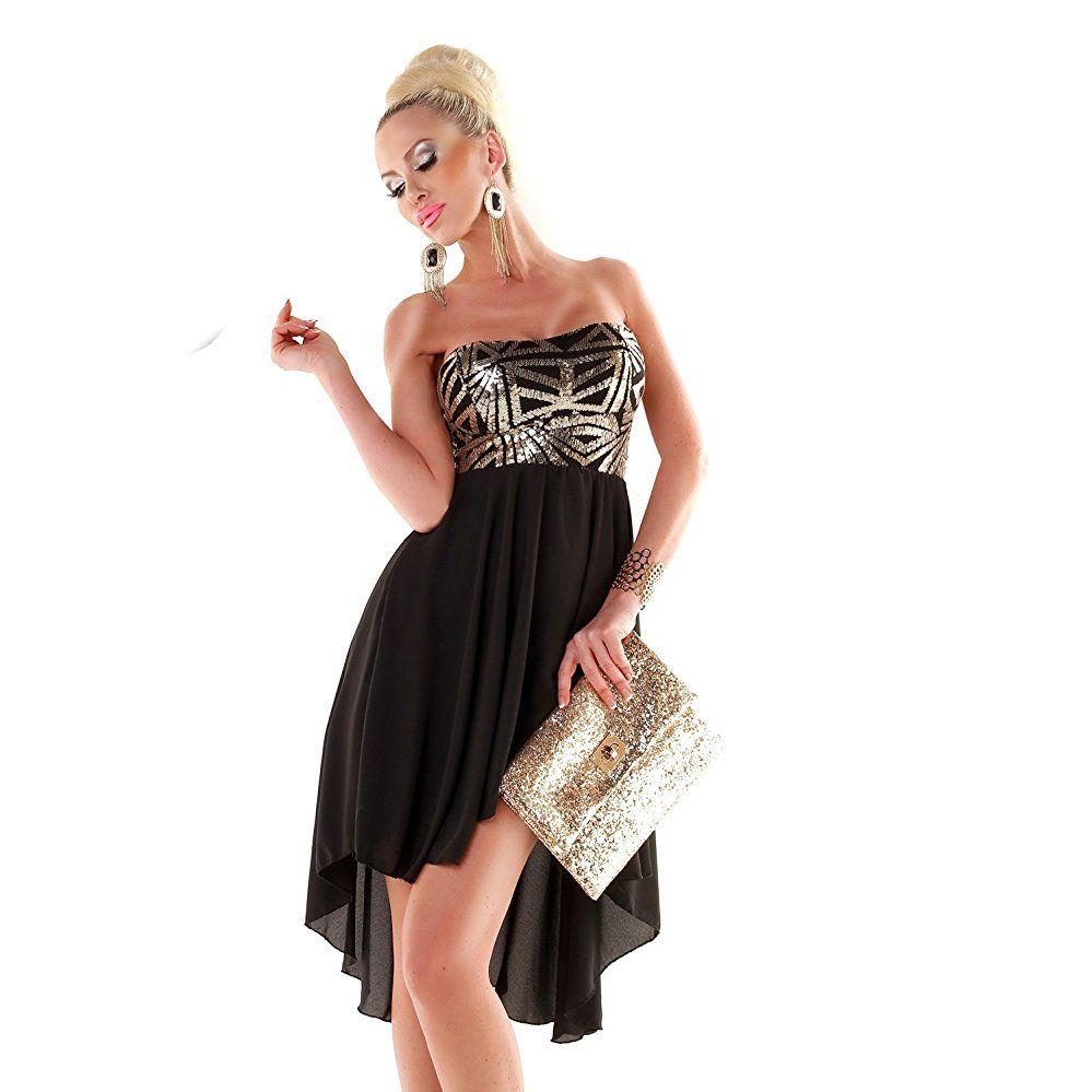 Damen Pailletten Abend Kleid Silvester Bandeau Kleid vorne kurz