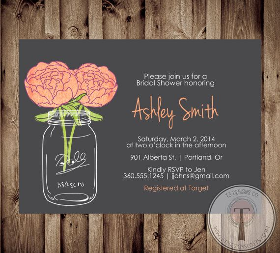 Mason Jar Invitation, Bridal Shower Invitation, Wedding Shower ...