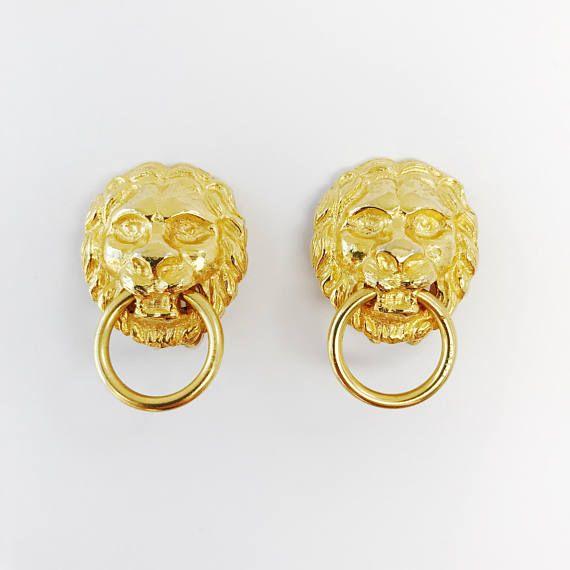 Kenneth Jay Lane Gold Doorknocker Pierced Earring Gold BY8ZE3