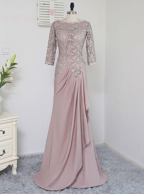 A Line 3 4 Sleeves Chiffon Lace Wedding Party Dress Mother Dresses 2020 Parti Elbiseleri Elbise Dugun Elbise Modelleri