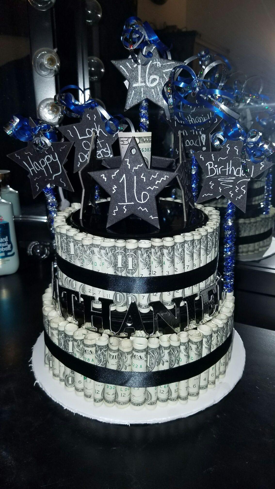 Boy 16th birthday money cake 16th birthday pinterest