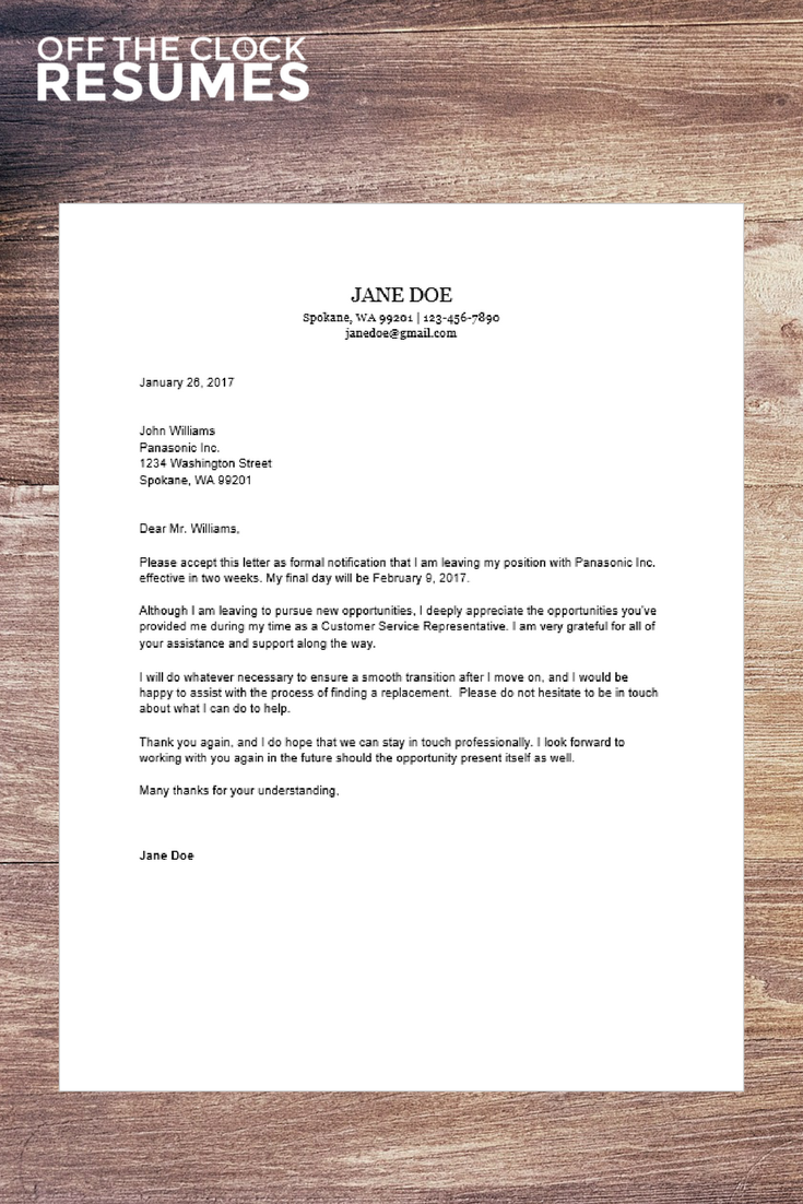 Our Two Weeks Notice Template Is Free For Former Job Seekers