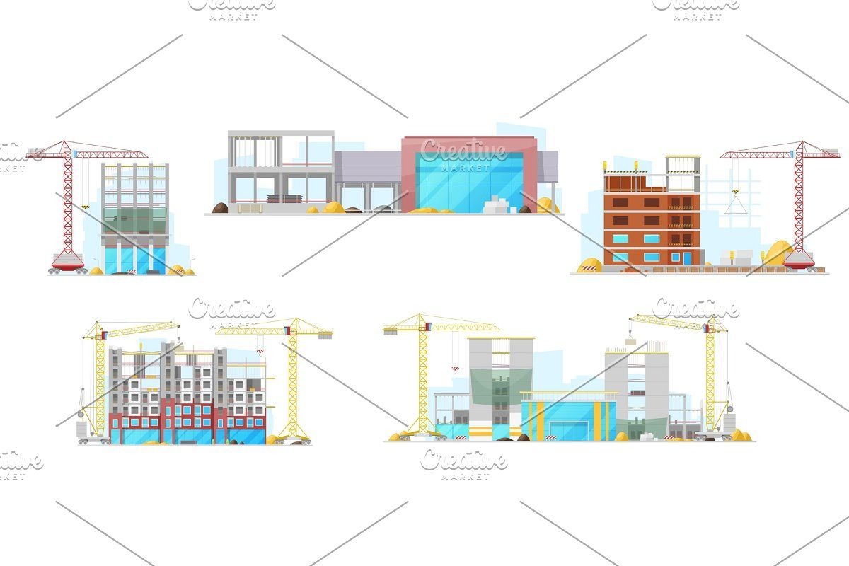 Buildings Construction Site Icons Ad Flat Icons Unfinished Vector Building Construction Construction Site Site Icon