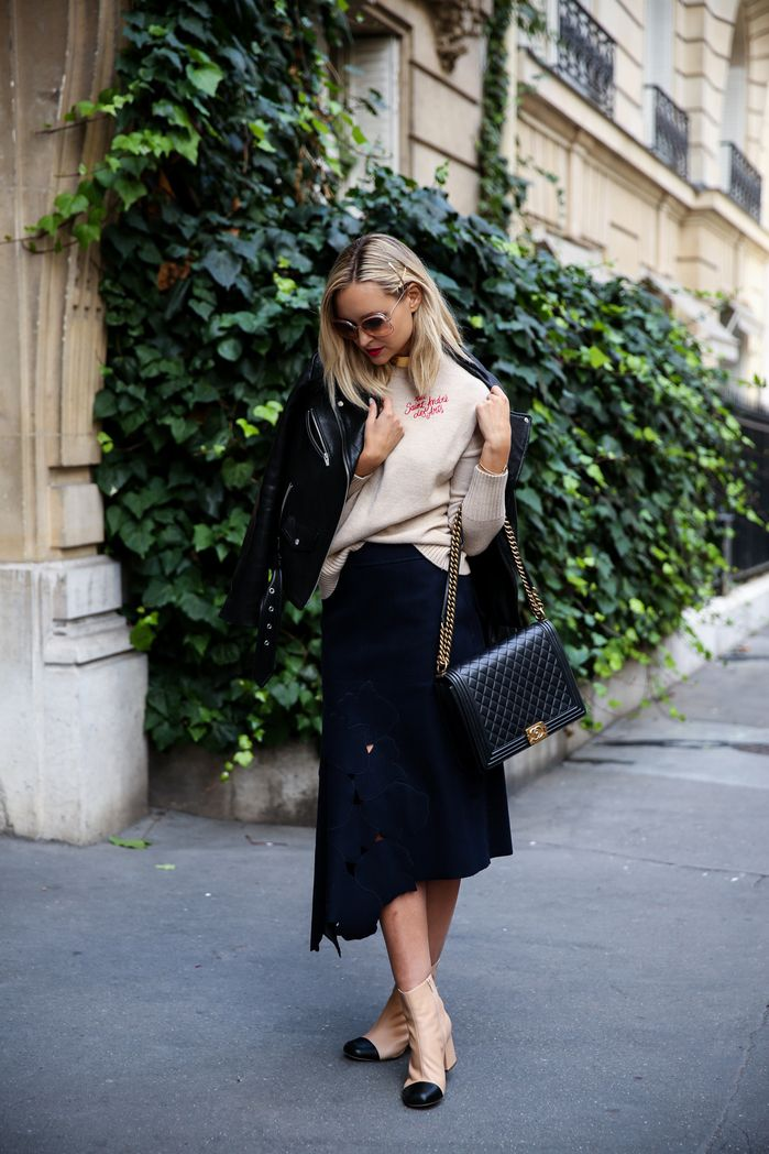 black leather, navy felt skirt, Chanel inspired booties, Chanel boy bag for Paris fashion week