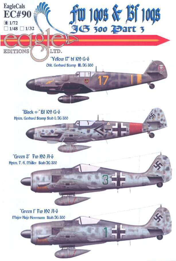 Eaglecals Decals 1 72 Jg 300 Focke Wulf Fw 190 Messerschmitt Bf 109 Part 3 Messerschmitt Bf 109 Aircraft Art Messerschmitt