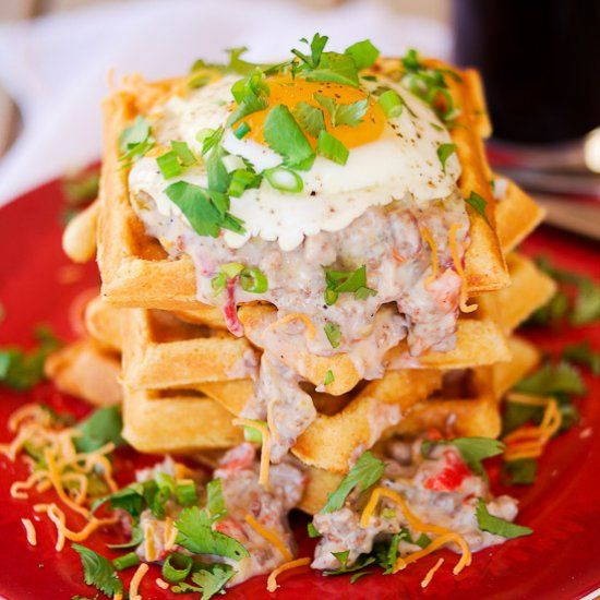 A savory cornmeal waffle with creamy Hatch green chile and turkey sausage gravy topped with a (runny) egg...