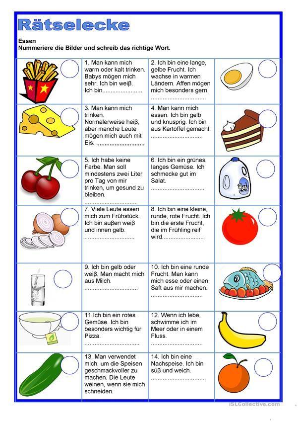 Rätselecke - Essen | Essen und Trinken, Lebensmittel - DAF ...