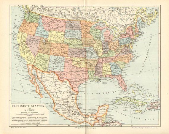 UNITED STATES and MEXICO Antique Political Map, printed in ...