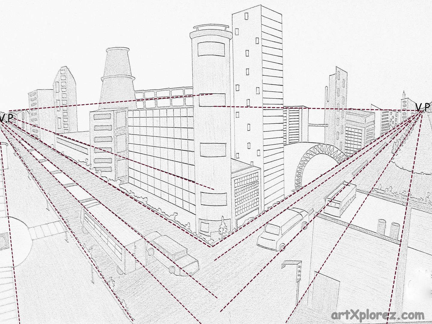 2 Fluchtpunktperspektive Stadt Two Point Perspective Example Art Perspective Art