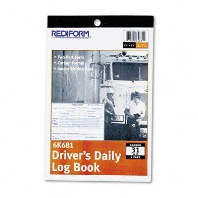 Driver\u0027s Daily Log, 5 1/2 X 7 7/8, 31 Sets/Book (Set of 3 - driver daily log sheet template