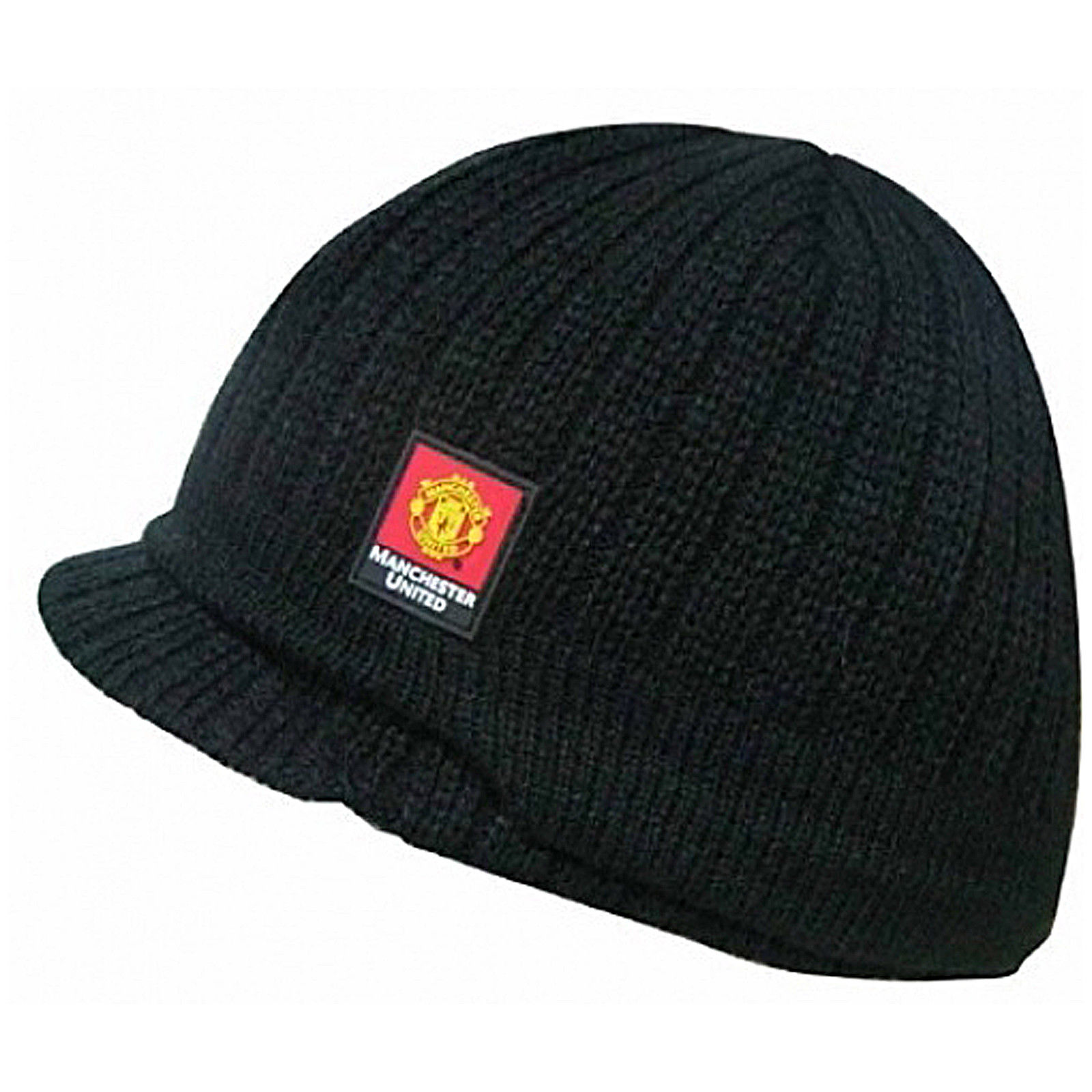 £9.95 GBP - Manchester United Fc Official Football Gift Knitted Peaked Beanie  Hat  ebay 581280ac3152