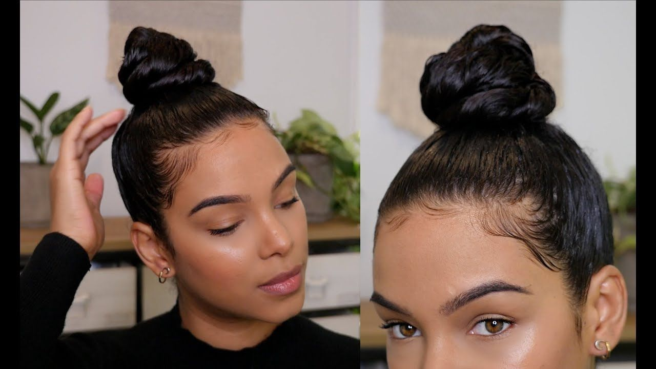 How To Get A Sleek Top Knot Bun With Curly Hair Top Knot Bun Knot Bun Curly Top Knot