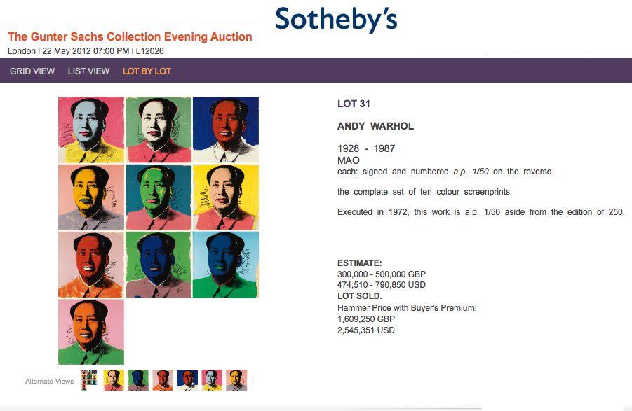 #AndyWarhol Mao Set of 10 fetches $2.5 million, an auction record Sotheby's London. http://twitter.com/WarholArt/status/207252809844920320/photo/1   Follow #AndyWarholPrints on Pinterest, curated by Joseph K. Levene Fine Art, Ltd.  |  #JKLFA   http://pinterest.com/jklfa/andy-warhol-prints/
