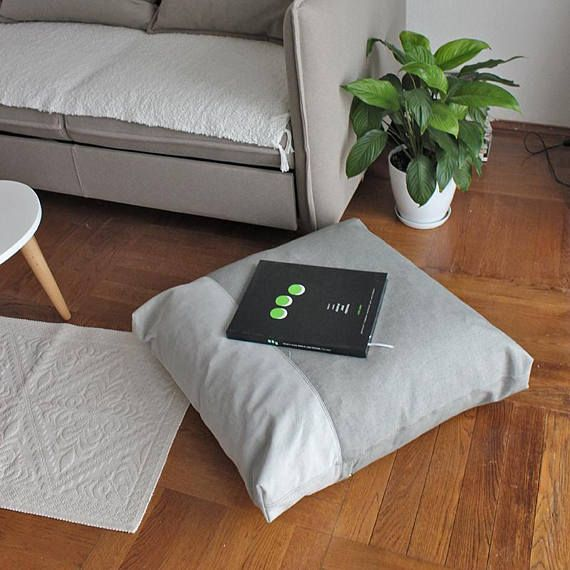 Gray Floor pillow cover Floor cushion Giant pillow Seating Soft