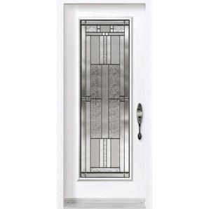 32 X 80 Steel Door 32 X 80 Cachet Patina Left Hand In Swing Vinyl Clad Steel Door Leaded Glass Door Entry Doors With Glass Glass Front Door