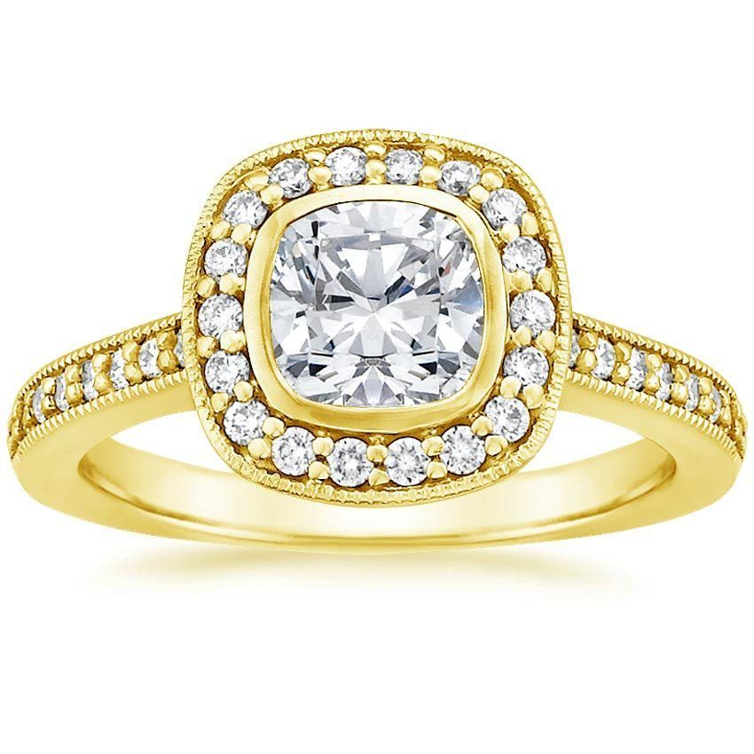 18K Yellow Gold Fancy Bezel Halo Diamond Ring with Side Stones (1/4 ct. tw.) from Brilliant Earth