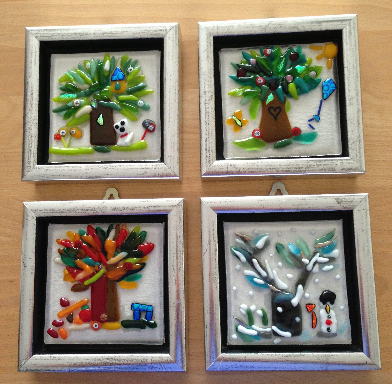 De 4 Arstider Bullesye Glaskunst Traeer