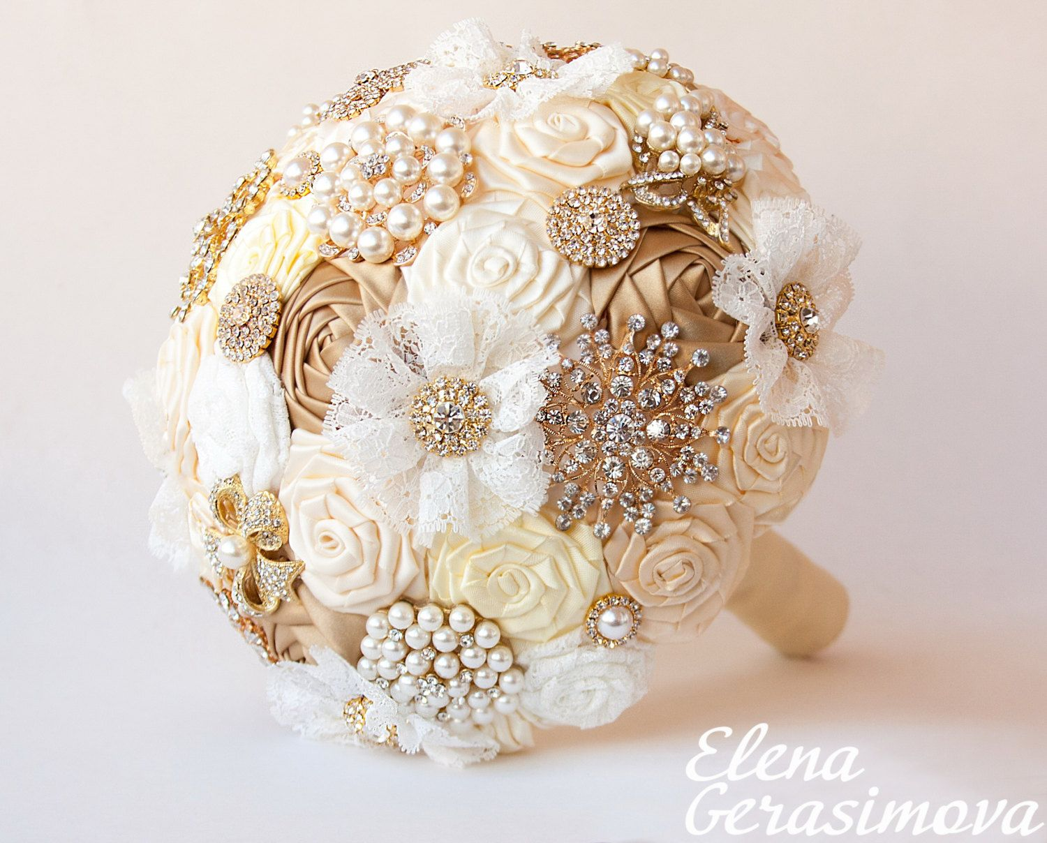 Brooch Bouquet. Gold Ivory Fabric Bouquet Unique by