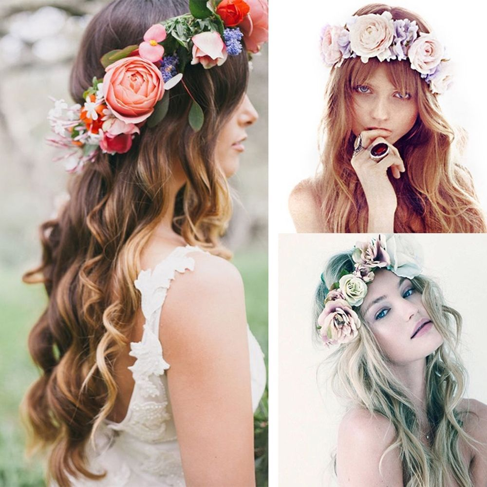 Details Zu Haarband Blumen Stirnband Kranz Blute Geflochten Haarreif