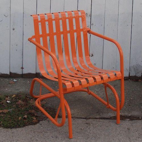 vintage orange glider chair 325 los angeles home outdoor rh pinterest com