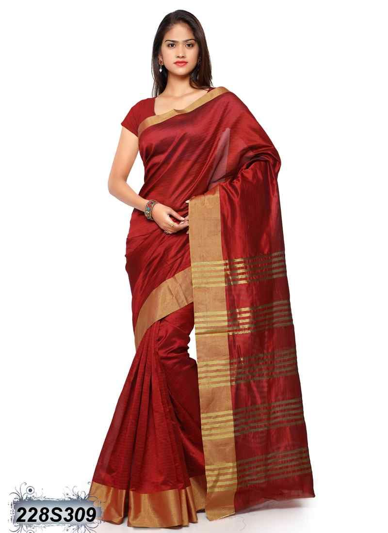 Trendy Maroon Coloured Cotton Linen Saree With Images Trendy