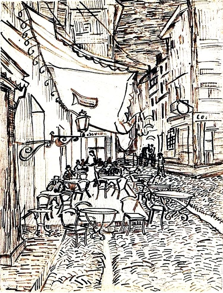 cafe terrace on the place du forum arles at night vincent van gogh drawing pen reed ink pencil on laid paper arles september 1888