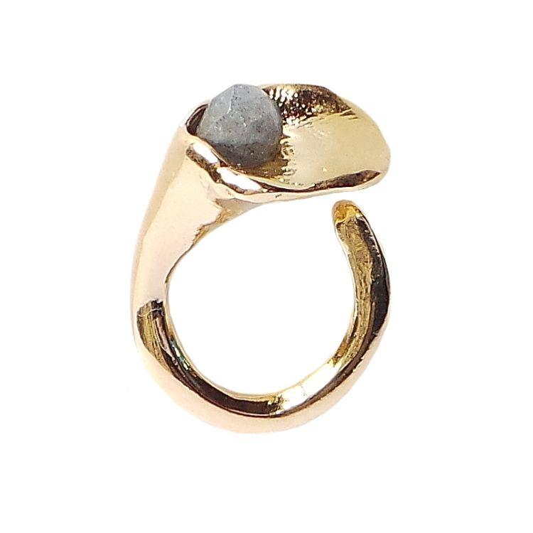 Anillo Lirio De Velatti Bañado En Oro Con Piedra Semipreciosa Anillo Joyas De Oro Anillos De Moda