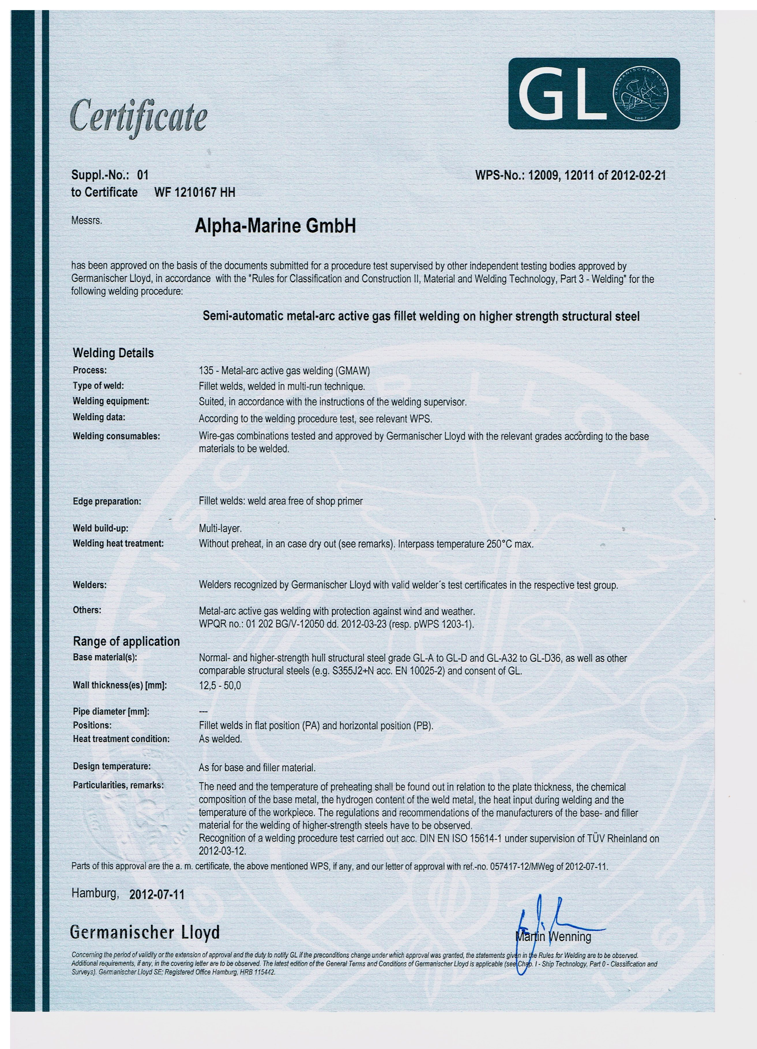 АЛФА-МАРИНЕ ООД (Alpha-Marine GmbH) - Welding certificate