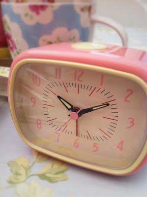 Retro pink alarm clock