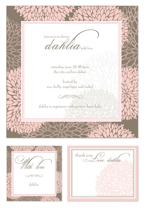 Paper Couture - Personal stationery and themed party printables: Baby shower invites - baby girl