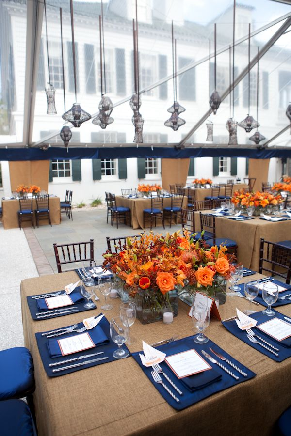 Orange and blue southern rehearsal dinner rehearsal - Orange and blue decor ...