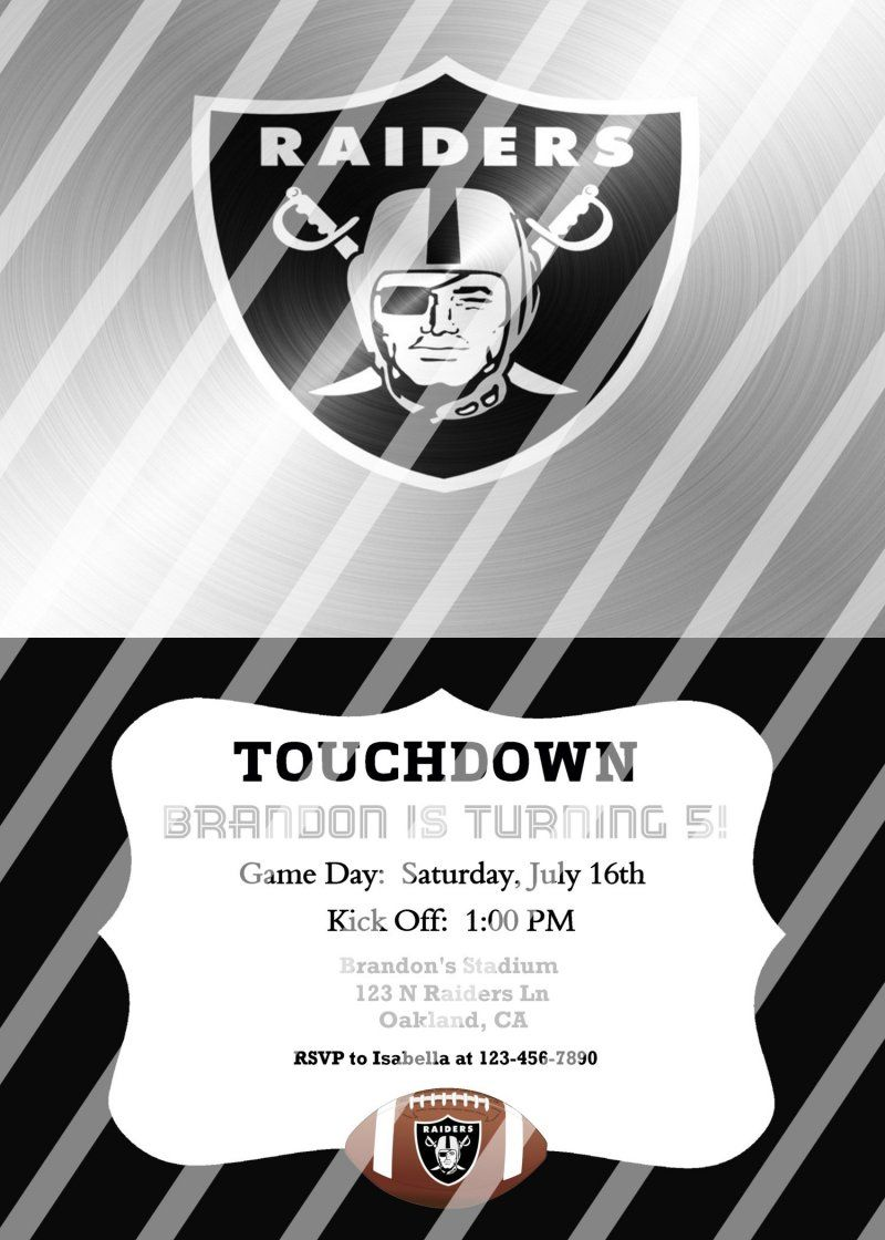 Oakland Raiders Personalized Party Invitation #28 (digital file you ...