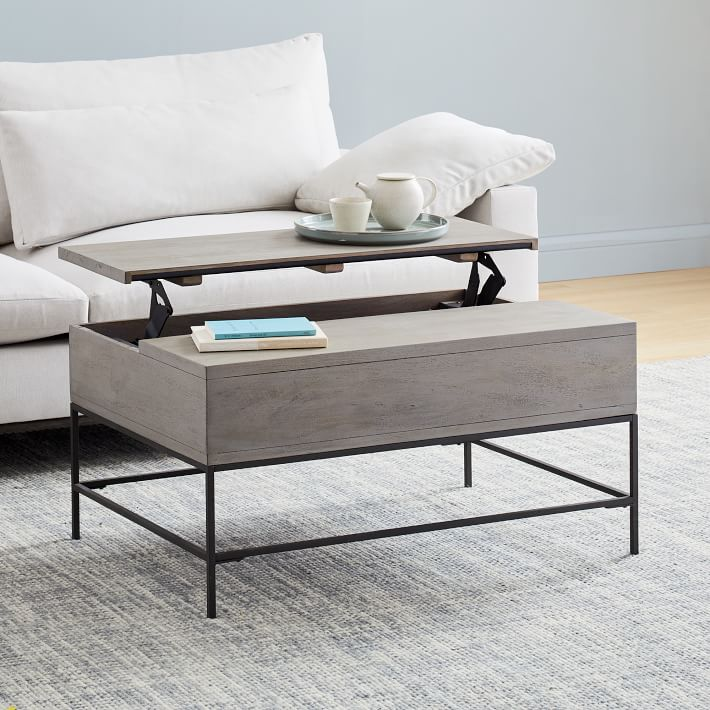 Industrial Storage Pop Up Coffee Table Gray West Elm Coffee Table Grey Coffee Table Furniture