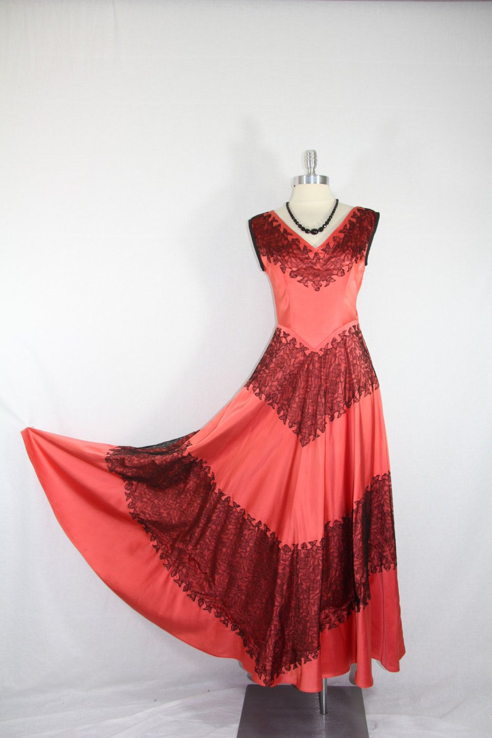 S vintage dress coral satin with black lace wedding party prom