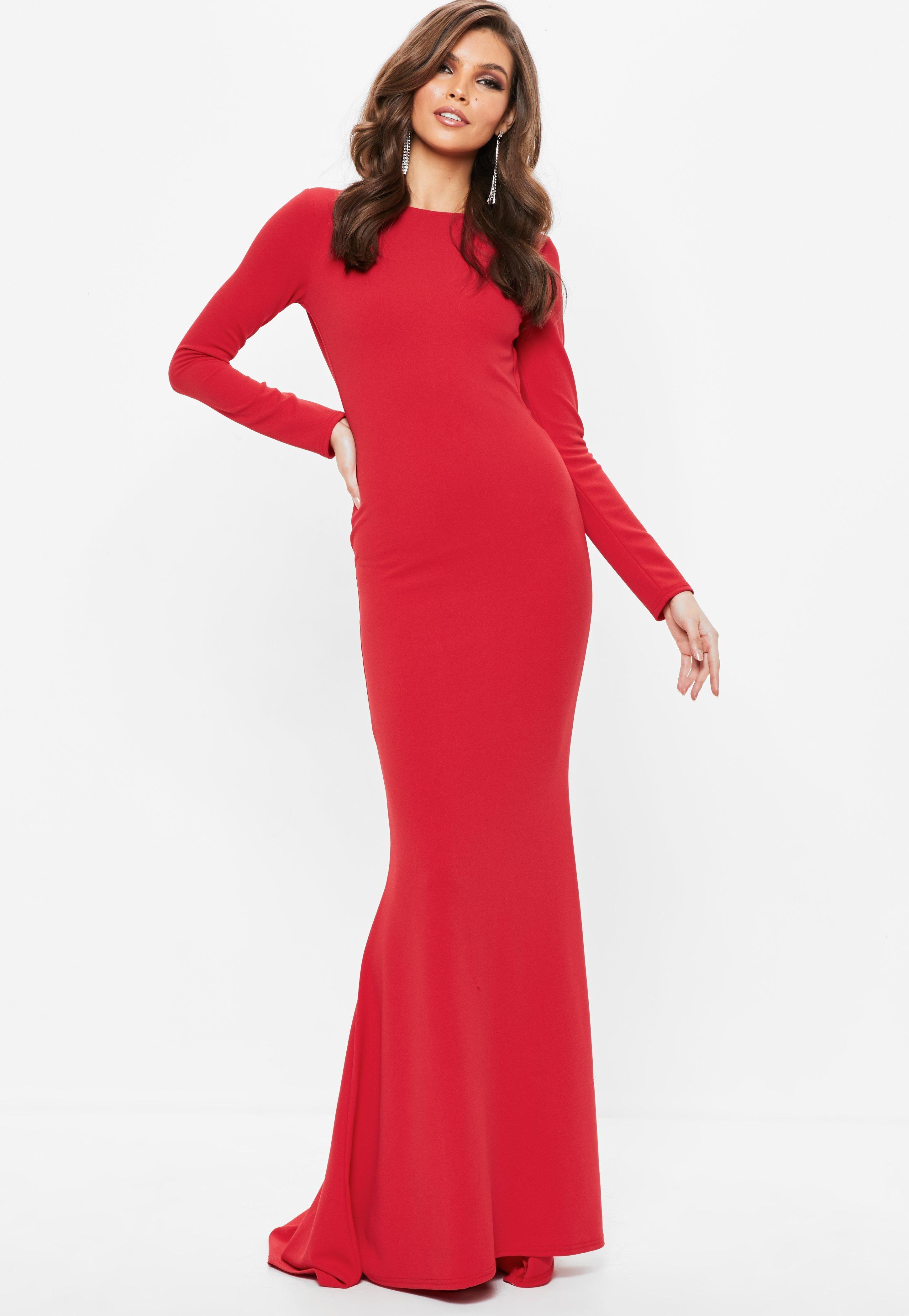 14++ Red long sleeve maxi dress info
