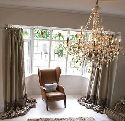 Stunning Linen And Crushed Velvet Made To Measure Curtains Huge Long Bay Window White Wooden Floor Curtain Styles Bay Window