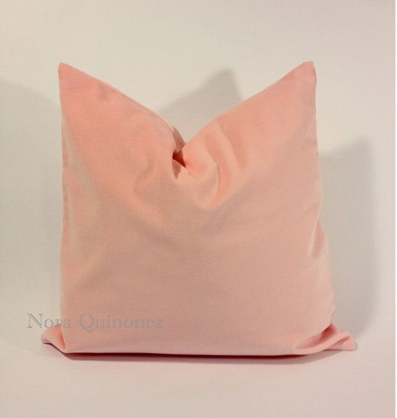 16x16 pale pink cotton velvet pillow cover square decorative throw pillows invisible zipper. Black Bedroom Furniture Sets. Home Design Ideas