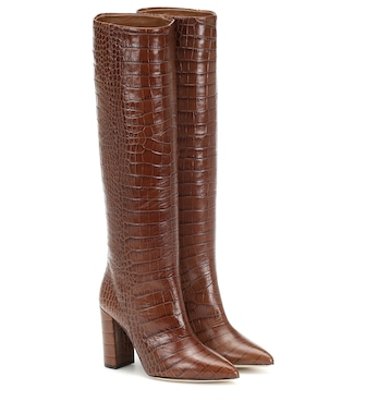 Croc effect leather knee high boots in 2020 | Knee high
