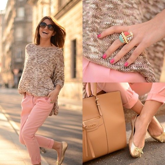 sweater, love; pants, blanco; bag, dimoni; ring, romwe