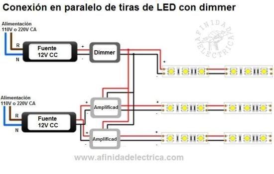 Circuito de conexi n de tiras de leds monocolor con - Como instalar lamparas led ...