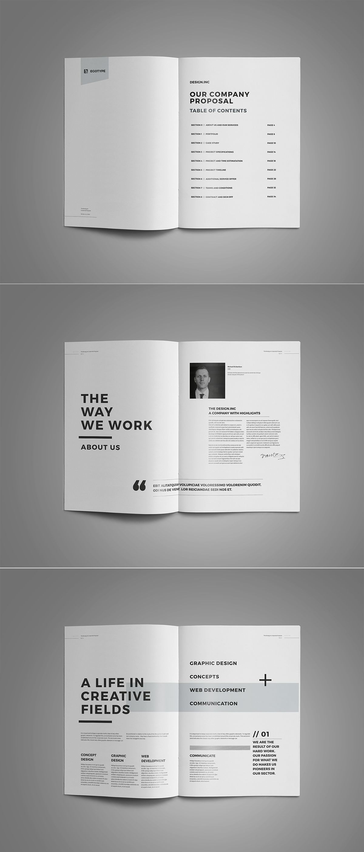 proposal template for word%0A Proposal and Portfolio TemplateMinimal and Professional Proposal Brochure  template for creative businesses  created in Adobe