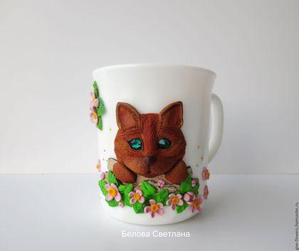 Кружка Кошечка в цветах из полимерной глины | Кружка ...
